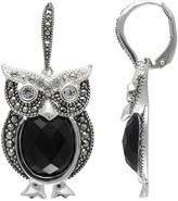 Swarovski Lavish By Tjm Lavish by TJM Sterling Silver Onyx & Crystal Owl Drop Earrings - Made with Marcasite