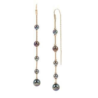 Kenneth Cole Oil Slick Pearl Linear Chain Pull Thru Earrings (265642GLD967)