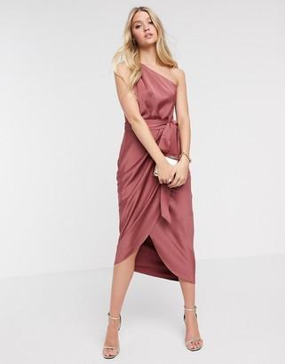 Ted Baker Gabia one shoulder dress in mid pink