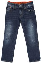 Armani Junior Splattered Destroyed Cotton Denim Jeans