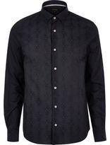 River Island MensNavy geometric pattern slim fit shirt