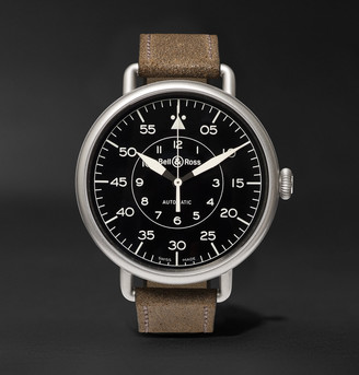 Bell & Ross Ww1-92 45mm Steel And Distressed Suede Watch, Ref. No. Brww192mil/sca