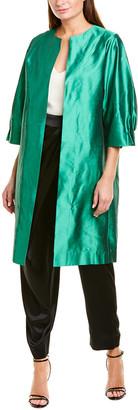 Oscar de la Renta Open Front Silk Coat