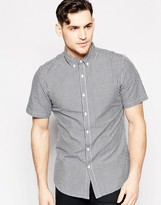 Farah Shirt with Gingham Check Slim Fit Short Sleeves