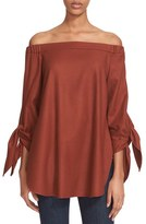 Tibi Off the Shoulder Gabardine Tunic