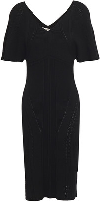 Roberto Cavalli Pointelle-trimmed Ribbed-knit Dress