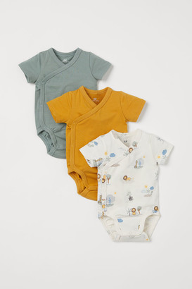 H&M 3-pack Wrapover Bodysuits - Green