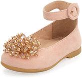 Aquazzura Monaco Suede Ballerina Flat, Pink, Toddler