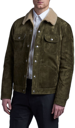 Tom Ford Men's Suede Shearling-Lined Trucker Jacket