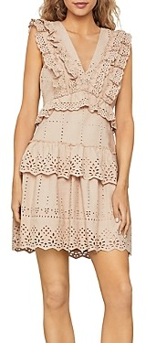 BCBGMAXAZRIA Eyelet Ruffled Mini Dress
