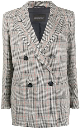 Emporio Armani Check Double-Breasted Blazer