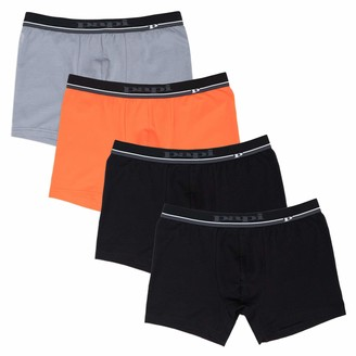Papi Men's Cotton Stretch Logo Solid Boxer Briefs Pack of 4