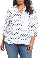 Foxcroft Plus Size Women's Fleur Dot Print Blouse