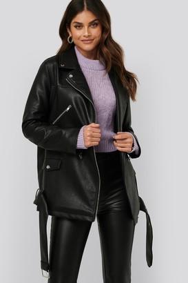 NA-KD Afj X Pu Leather Oversized Jacket Black
