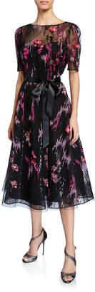 Rickie Freeman For Teri Jon Elbow-Sleeve Embroidered Tulle Cocktail Dress w/ Sequin Underlay