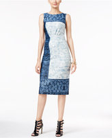 ECI Denim-Print Scuba Sheath Dress