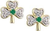 Solvar Shamrock Earrings Diamond & Emerald 14k Studs