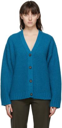 6397 Blue Wool and Cashmere Stitch Cardigan