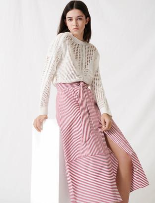 Maje Long striped tie skirt
