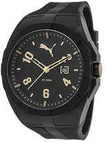 Puma PU103501011 Men's Iconic Black Rubber Black Dial Black Plastic Gold-Tone