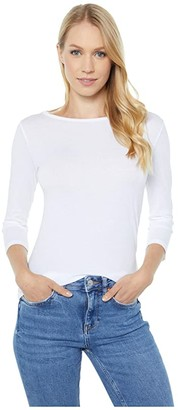 Majestic Filatures Cotton Silk Touch 3/4 Sleeve Boatneck Top (Blanc) Women's Clothing