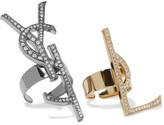 Saint Laurent Set Of Two Gold And Gunmetal-tone Swarovski Crystal Rings - One size