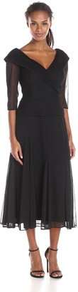 Alex Evenings Women's Portrait Collar Tea Length Dress