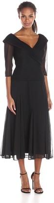 Alex Evenings Women's Portrait Collar Tea Length Dress