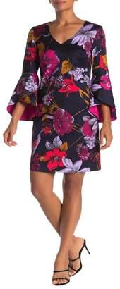 Trina Turk Cheers Bell Sleeve Floral Print Dress