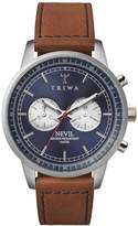 Triwa Nevil Steel Men's Chronograph Watch Brown Leather Strap with Stitching NEST108 SC010216