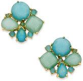 Kate Spade Gold-Tone Aqua Cluster Stud Earrings
