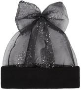 Federica Moretti Black Crystal-embellished Tulle Beanie
