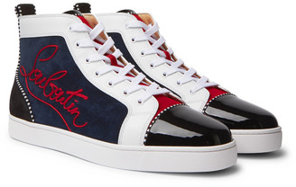Christian Louboutin Louis Appliqued Suede And Leather High-Top Sneakers