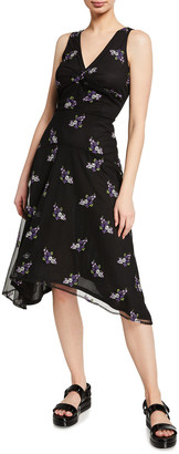 MICHAEL Michael Kors Floral Embellished Mesh Midi Dress