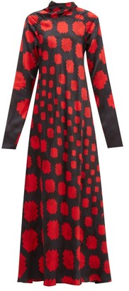 Marni High-neck Pixel-print Satin Maxi Dress - Womens - Black Red