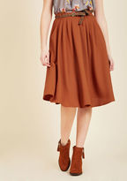 ModCloth Breathtaking Tiger Lilies Midi Skirt in Orange in L - Full Skirt Long