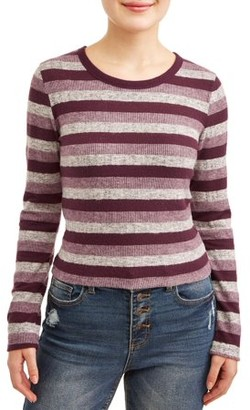 Poof Apparel Poof! Juniors' Striped Crew Neck Cropped Sweater