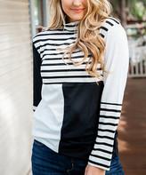 Tickled Teal Women's Tunics Stripes - Black & White Stripe Color Block Mock Neck Tunic - Women