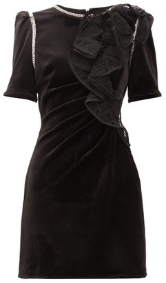 Self-Portrait Ruffled-shoulder Velvet Mini Dress - Black