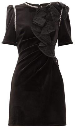 Self-Portrait Ruffled-shoulder Velvet Mini Dress - Womens - Black