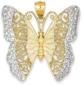 Bijou 14k Yellow Rhodium Gold Solid Polished Diamond-cut Filigree Butterfly Pendant