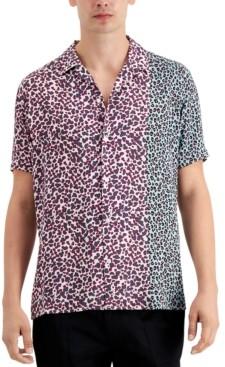 INC International Concepts Men's Short Sleeve Noah Spliced Shirt