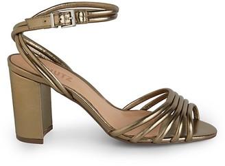 Schutz Nicolai Metallic Leather Strappy Slingback Sandals