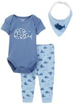 Absorba Blue Whale Bodysuit, Pant, & Bib Set (Baby Boys)