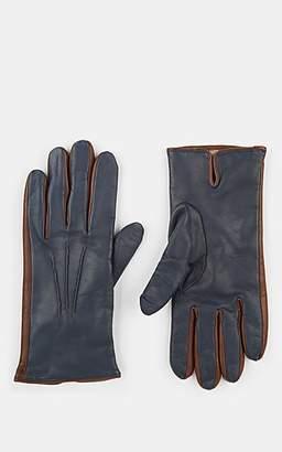 Barneys New York Men's Cashmere-Lined Leather Gloves - Navy