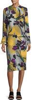 Marni Long-sleeve Floral Midi Dress, Dark Smoke