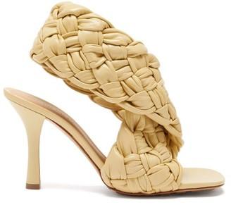 Bottega Veneta Board Intrecciato-weave Leather Sandals - Cream