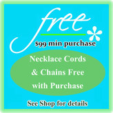 Etsy Necklace Chains or Cords Free with Minimum 99 dollar Purchase - Pick Your Style - assorted colors. P