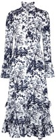 Erdem Miguella Printed Silk Crepe De Chine Midi Dress