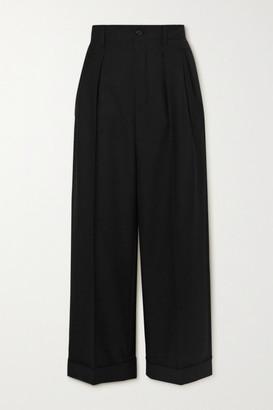 Saint Laurent Cropped Pleated Wool-gabardine Straight-leg Pants - Black